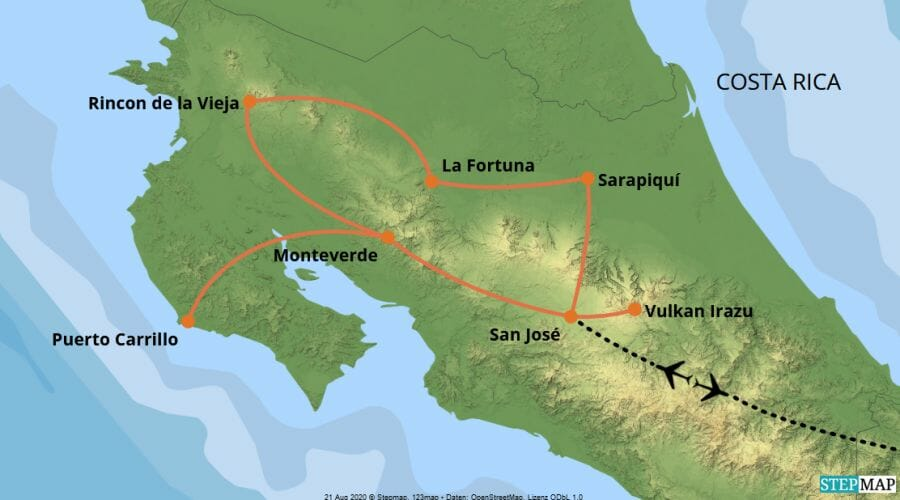 Karte der Reise: Rundreise